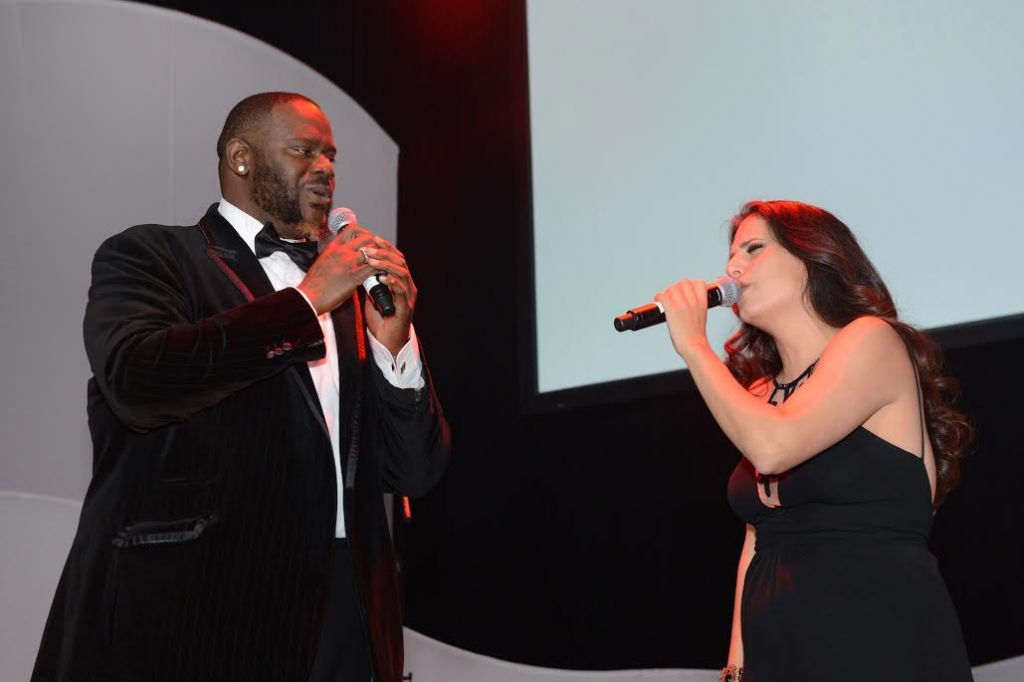 Singers Abraham MacDonald and Miri Mesika perform at The Times of Israel's New York Gala, February 15, 2015. (photo credit: Peter Halmagyi)