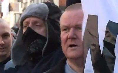 British supporters of Pegida at a rally in Newcastle on Saturday, February 28, 2015 (Photo credit: YouTube screen capture)
