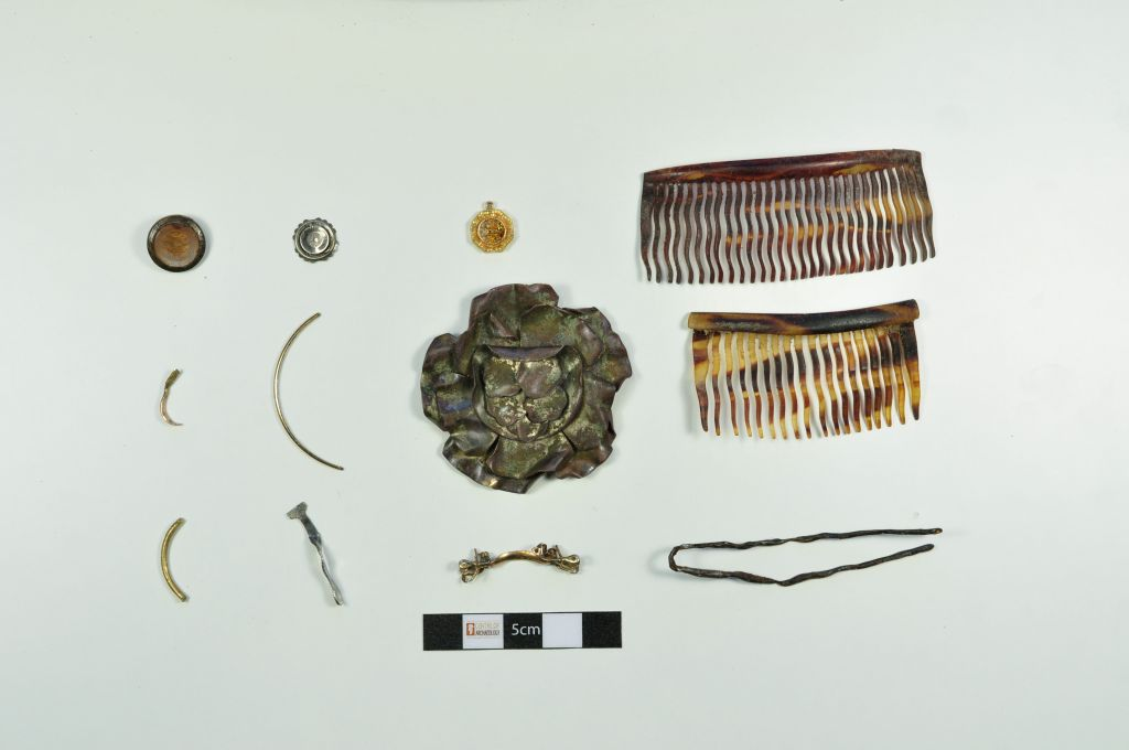 Some of the Holocaust-era artifacts excavated by Caroline Sturdy Colls and her team of archeologists during several research seasons at Treblinka, the Nazi death camp in eastern Poland (photo: courtesy)