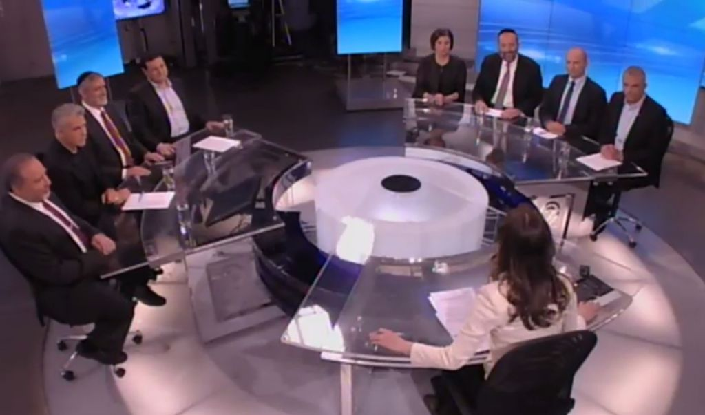 Israeli political party leaders at the Channel 2 debate, February 26, 2015 (Photo credit: Channel 2 News)