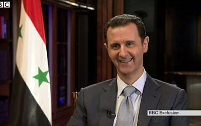 Syrian President Bashar Assad speaks to the BBC in an interview aired February 10, 2015. (screen capture: BBC)