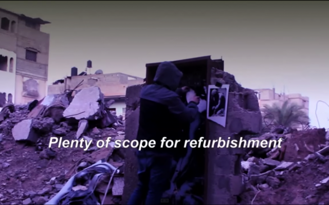 The anonymous artist Banksy released a video on Feb. 25, 2015 showing a recent visit to the Gaza Strip.  (Screen capture)