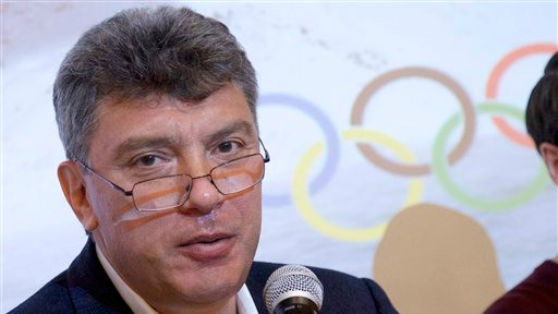 In this file photo taken on Thursday, May 30, 2013, Boris Nemtsov, a former Russian deputy prime minister and opposition leader, presents a report claiming widespread corruption during preparations for the 2014 Winter Games in Sochi, at a news conference in Moscow, Russia (photo credit: AP/Ivan Sekretarev, File)