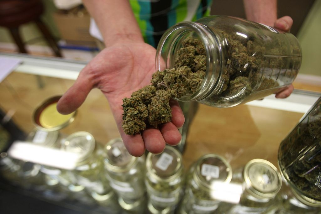 A bud tender at Private Organic Therapy, or POT, a nonprofit cooperative medical marijuana dispensary in Los Angeles, displays various types of marijuana available to patients, Oct. 19, 2009. (David McNew/Getty Images/JTA)