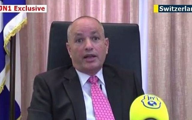 Israel's ambassador to Switzerland Yigal Caspi (screen capture: YouTube/JewishNewsOne)