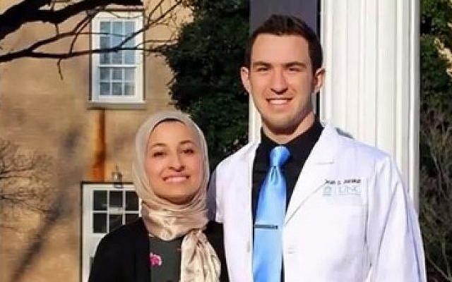 Deah Shaddy Barakat, 23, (R) and his wife Yusor Abu-Salha, 21 (L)  (photo credit: YouTube screenshot)