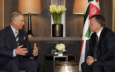Britain's Prince Charles, left, meets with Jordan's King Abdullah II in Amman, Jordan, Sunday, February 8, 2015. (photo credit: AP Photo/Khalil Mazrawi, Pool)