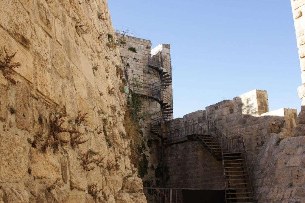 Climbing up for a better look: Stairs up to the Old City of Jerusalem ramparts (photo credit: Shmuel Bar-Am)