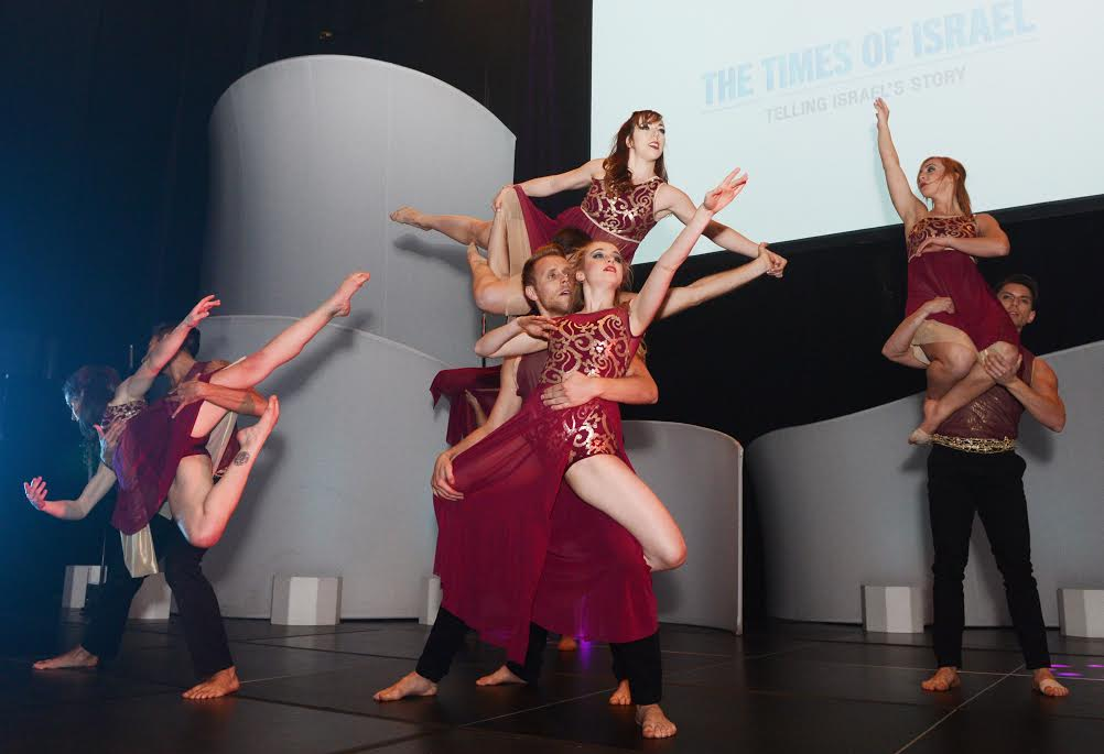 The Keshet Chaim Dance Ensemble performs at The Times of Israel's New York Gala, February 15, 2015. (photo credit: Peter Halmagyi)
