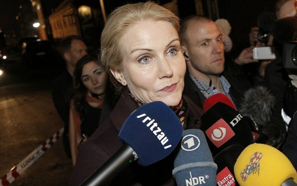 Prime Minister Helle Thorning Schmidt speaks to journalists at a cultural center in Kanonhallen in Oesterbro, a district of Copenhagen, Denmark, where shots were fired during a debate on Islam and free speech on February 14, 2015. (photo credit: AFP/ Scanpix Denmark/Martin Sylvest)
