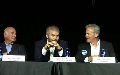 From left, Yaakov Peri, Haviv Rettig-Gur and Michael Oren at a political debate on February 2, 2015. (screen capture: Times of Israel)