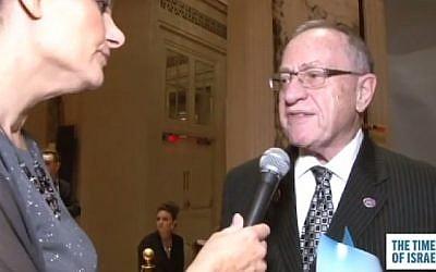 Professor Alan Dershowitz speaks to Ops & Blogs Editor Miriam Hershlag at the Times of Israel Gala in New York on February 15, 2015. (Photo credit: Screenshot)
