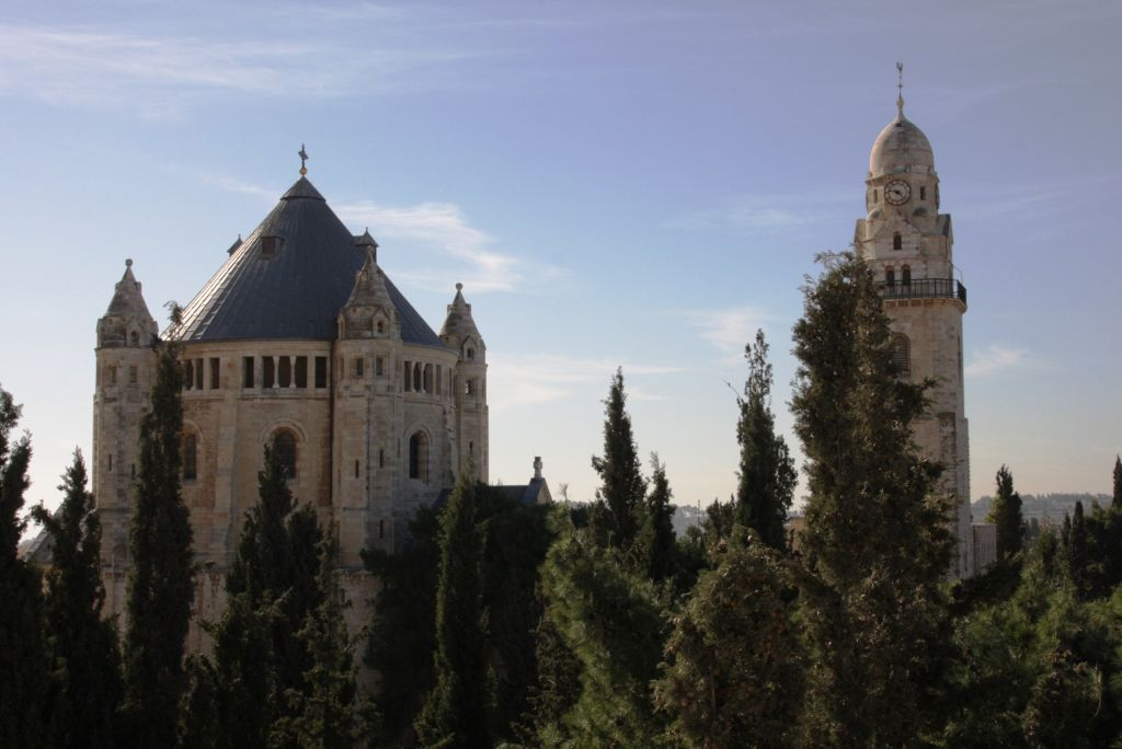 Dormition Abbey seen from the Old City of Jerusalem ramparts (photo credit: Shmuel Bar-Am)