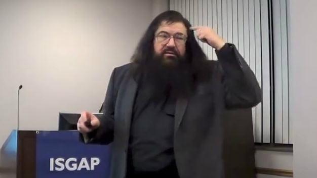 Yiddish scholar Dovid Katz speaking at Fordham University in New York City, NY. (screen capture: YouTube)
