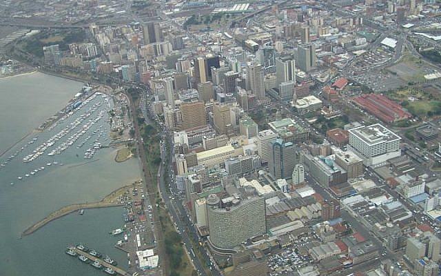 The South African city of Durban from above (photo credit: Wikimedia Commons, CC BY 2.0/Esther Dyson)