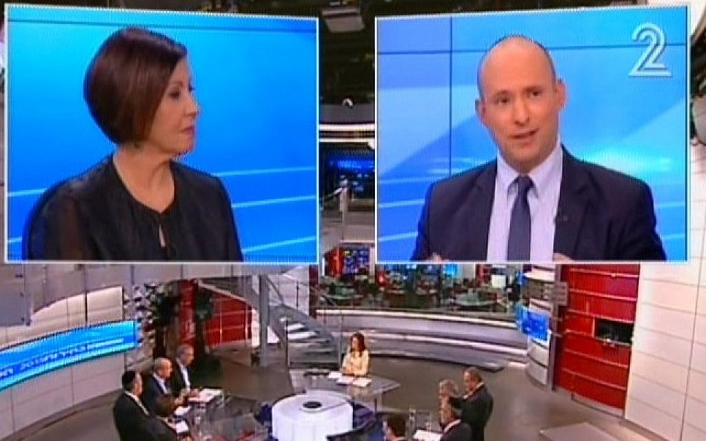 Zahava Gal-on and Naftali Bennett speaking during a televised debate on February 26, 2014. (screen capture: Channel 2)