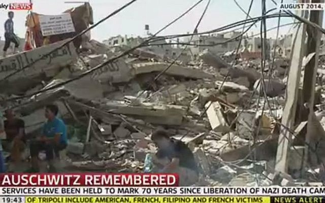 A Sky News interview uploaded on January 27, 2015 displaying a scene of destruction in Gaza during a conversation on the Holocaust and anti-Semitism with British Chief Rabbi Ephraim Mirvis. (screen capture: YouTube/SkyNews)