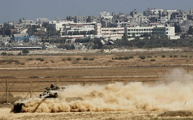 Illustrative. An IDF Merkava tank operating along the Gaza border on August 6, 2014 (Miriam Alster/ Flash 90)