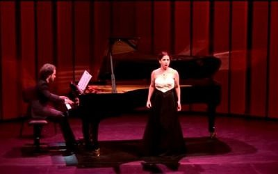Mezzo soprano Hagar Sharvit with Ammiel Bushakevitz at the Aix-en-Provence Festival, 2014. (screen capture: YouTube/Hagar Sharvit)