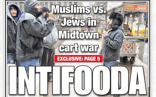 A detail of the the cover of The New York Post Sunday, February 15, 2015 (screenshot via punditfromanotherplanet.com)
