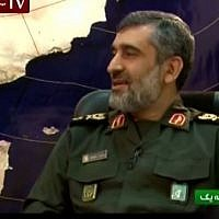 Commander of the Islamic Revolution Guards Corps (IRGC) Aerospace Force Brigadier General Amir Ali Hajizadeh. (screen capture: YouTube/MEMRITVVideos)