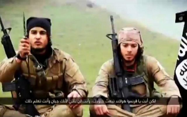 Illustrative: A screenshot of a Islamic State video released in February 2015 that encourages Muslims in France and Belgium to conduct terrorist attacks in their home countries. The two men pictured are French-speaking foreign jihadists. (screen capture: al-Jazeera)
