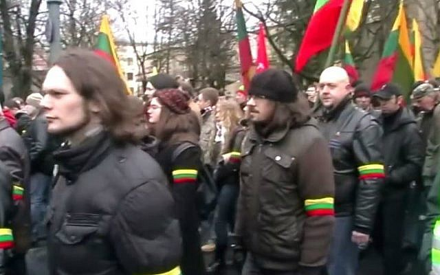 Lithuanian fascists marching through Kaunus, Lithuania in February 2014. (screen capture: YouTube)