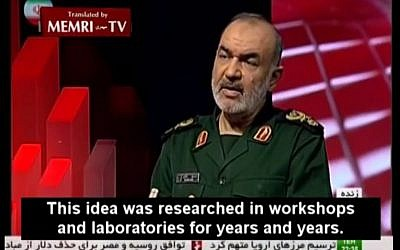 IRGC Deputy Commander Hossein Salami said during a February 9, 2015 interview that after years of research, Iran tested the use of a ballistic missile against a ship when he was IRGC air force commander. (Photo credit: YouTube screenshot)