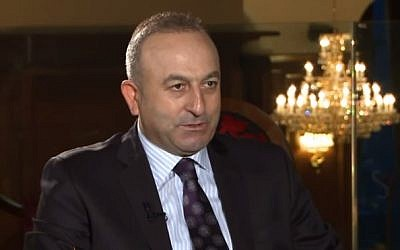 Turkish Foreign Minister Mevlüt Çavuşoğlu (screen capture: YouTube)