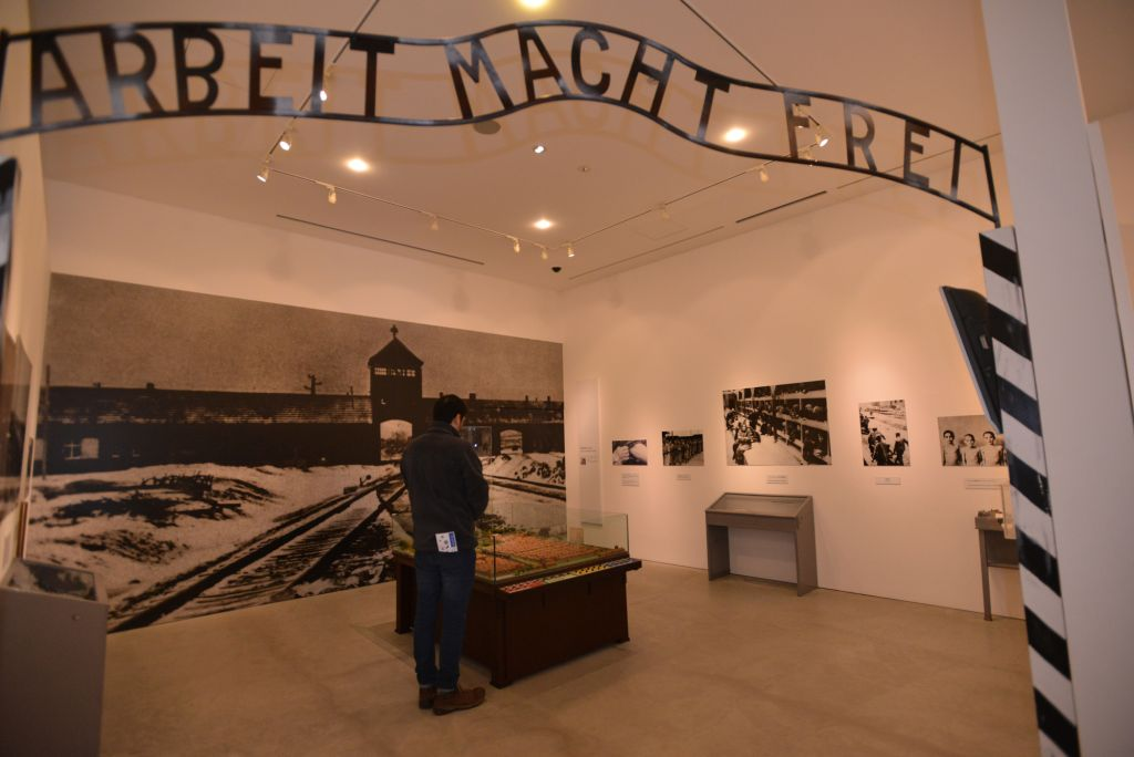 The entrance to the core display of the museum of the Holocaust Education Center in Fukuyama, with its replica of the infamous Auschwitz gate, Dec. 27, 2014. (Cnaan Liphshiz/JTA)