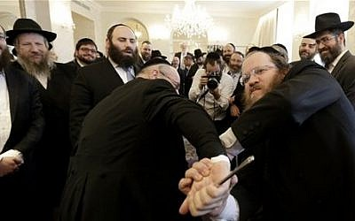 File: Rabbis take part in self-defense training during the Conference of European Rabbis in Prague, Czech Republic, Tuesday, Feb. 24, 2015. (photo credit: AP/Petr David Josek)
