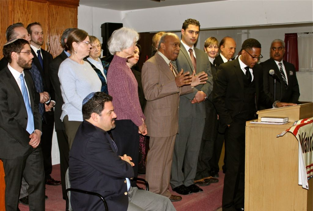 A news conference of Rockland Clergy for Social Justice calling for more state control over the controversial East Ramapo school board, February 18, 2015. (Katrina Hertzberg/JTA)