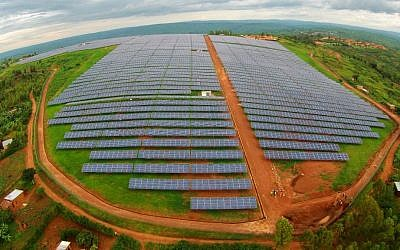 The solar field has more than 28,000 panels built in the shape of the African continent, on land leased from the Agahozo-Shalom Youth Village in Rwanda. (photo: Courtesy)