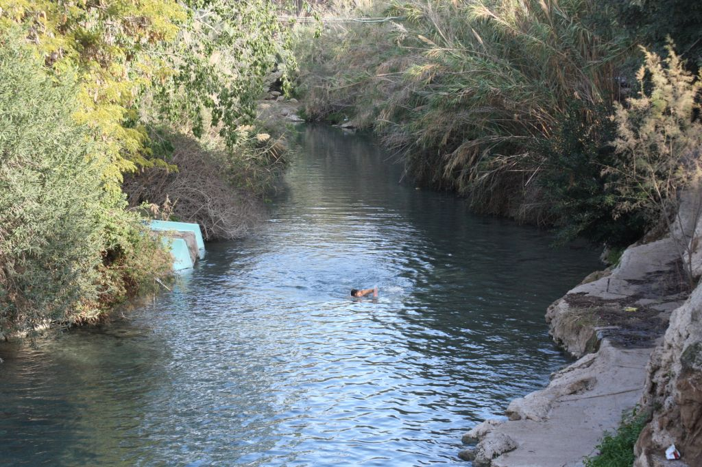 Swimming at Sahne (photo credit: Shmuel Bar-Am)