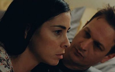 Sarah Silverman, shown here with co-star Josh Charles, aims to break out as a dramatic actress in 'I Smile Back.' (photo credit: Eric Lin/JTA)