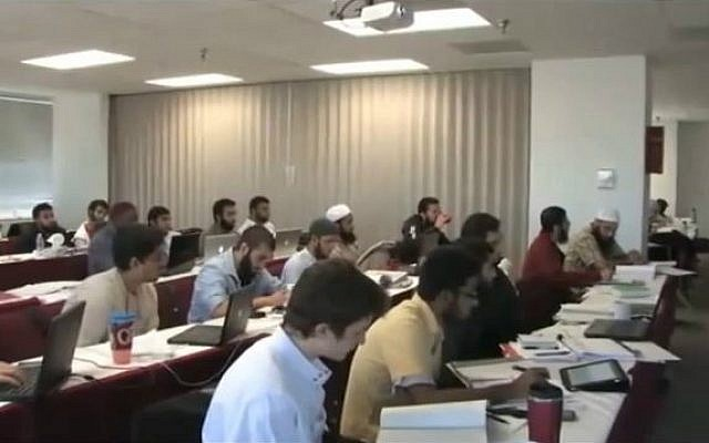 An illustrative picture of French students learning at an Islamic school. (screen capture: YouTube)