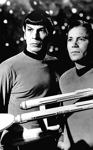 A publicity photo dated January 12, 1968 of Leonard Nimoy and William Shatner as Mr. Spock and Captain Kirk from the television program Star Trek. (Photo credit: Wikimedia)