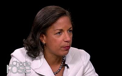 US National Security Adviser Susan Rice during an interview with Charlie Rose on the Public Broadcast Service, February 24, 2015. (screen capture: YouTube/Charlie Rose)