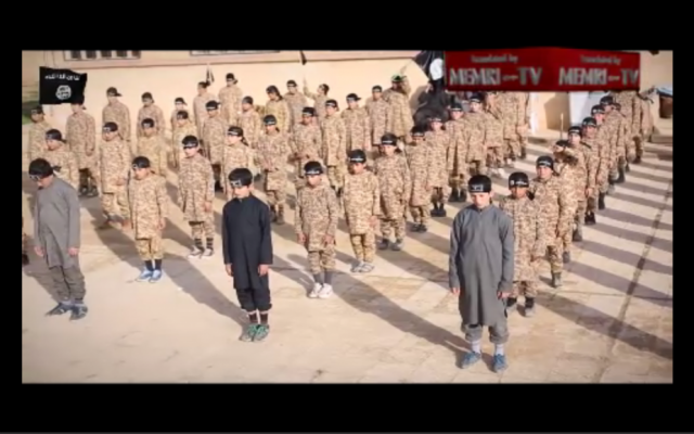 The Islamic State released a video on Feb. 22, 2015 showing the 'Farouq Institue for (Jihadi) Cubs,' a training camp for the next generation of the IS. (Screen capture)