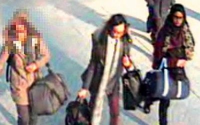 CCTV images of three British girls at Gatwick airport before boarding their flight to Istanbul. (Photo credit: Metropolitan Police)