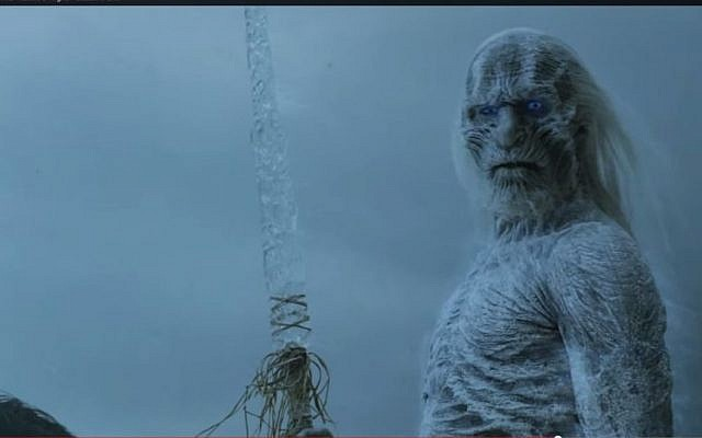 Whitewalkers from the hit HBO show 'Game of Thrones,' similar to what the newspapers are predicting for the snow storm in Israel. (screen capture: YouTube)