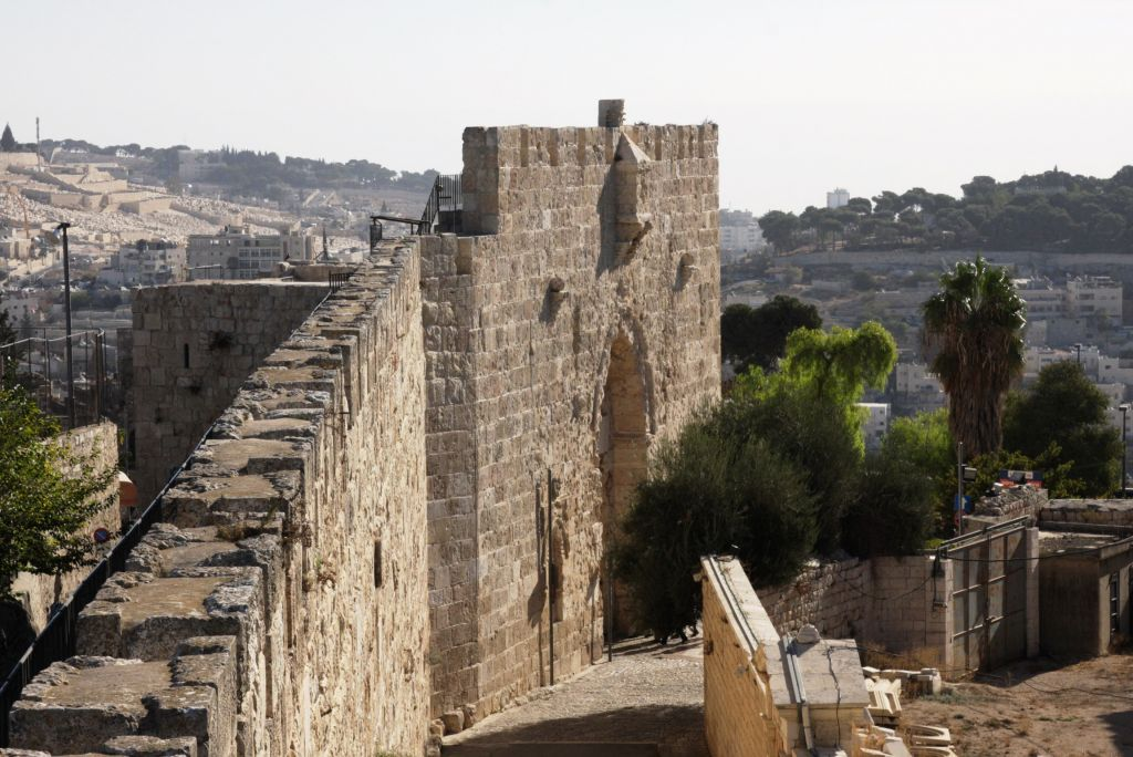 End of the walk: Zion Gate viewed from the Old City of Jerusalem ramparts (photo credit: Shmuel Bar-Am)