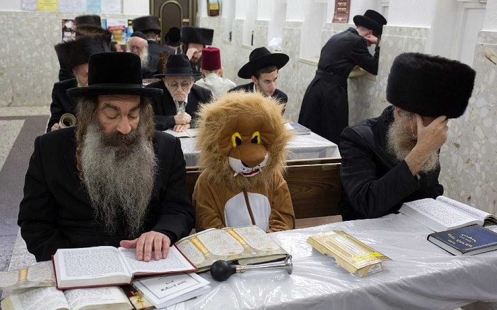 Illustrative: Ultra-Orthodox Jews and a child wearing a costume read the book of Esther at a synagogue in the city of Bnei Brak on March 4, 2015. (AFP PHOTO/MENAHEM KAHANA)