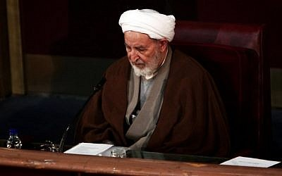 Iran's former judiciary chief Mohammad Yazdi attends a session of the Assembly of Experts in the capital Tehran on March 10, 2015, before being appointed as the new head of the Assembly. (Behrouz Mehri/AFP)