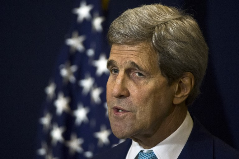 US Secretary of State John Kerry speaks during a news conference in Sharm el-Sheikh on March 14, 2015. (photo credit: AFP PHOTO / KHALED DESOUKI)