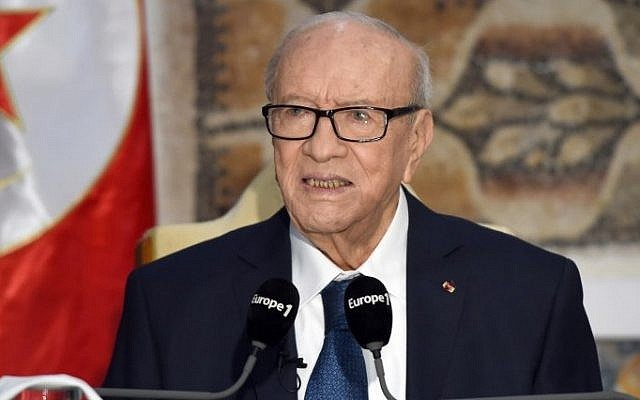 Tunisian President Beji Caid Essebsi speaks during a press conference on March 22, 2015 following his visit at the National Bardo Museum in Tunis to pay tribute to the victims of the deadly attack claimed by the Islamic State group. (photo credit: AFP/FETHI BELAID