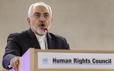 Iranian Foreign Minister Mohammad Javad Zarif delivers a speech  at the opening day of UN Human Rights council session at the United Nations offices in Geneva on March 2, 2015. (photo credit:AFP/FABRICE COFFRINI)