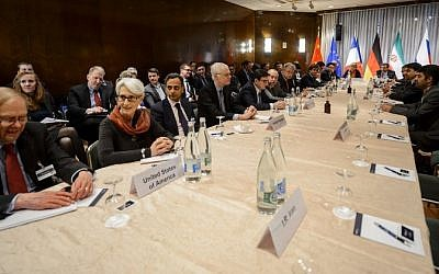 US Undersecretary of State for Political Affairs Wendy Sherman (2nd left) at the opening of nuclear talks between Iran and the P5+1 group in Montreux, Switzerland, on March 5, 2015 (photo credit: AFP/Fabrice Coffrini)
