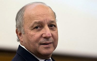 French Foreign Minister Laurent Fabius at the Maison des Océans in Paris, March 17, 2015. (photo credit: AFP/KENZO TRIBOUILLARD)