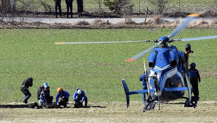 Rescuers prepare to board a helicopter of the French Gendarmerie on an air base in Seyne-les-Alpes, French Alps on March 26, 2015. (photo credit: AFP/BORIS HORVAT)